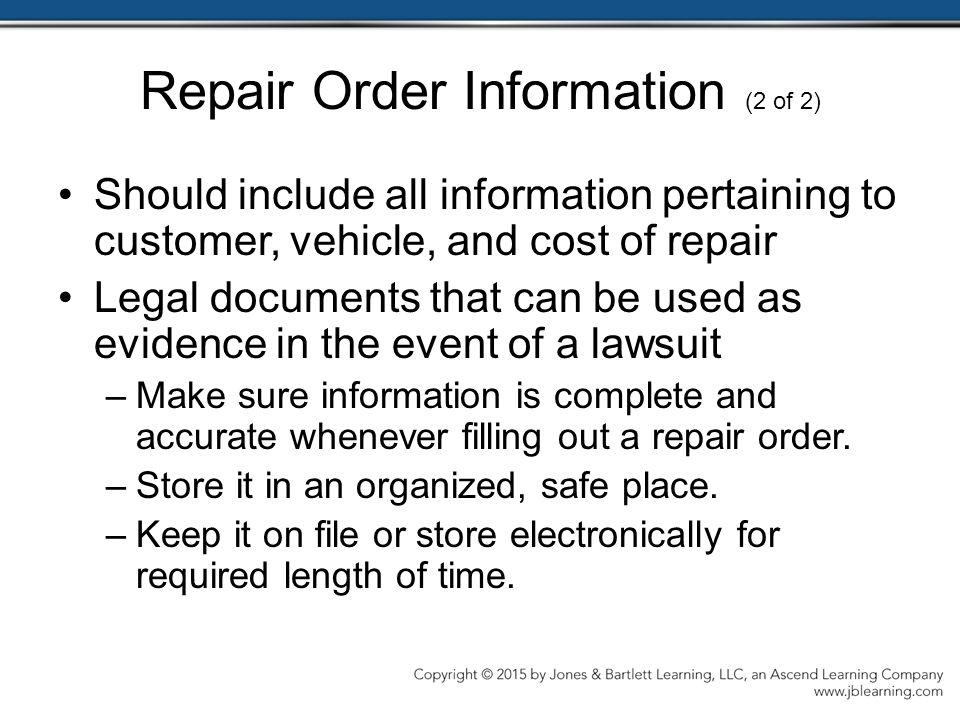 Repair Order Information (2 of 2)