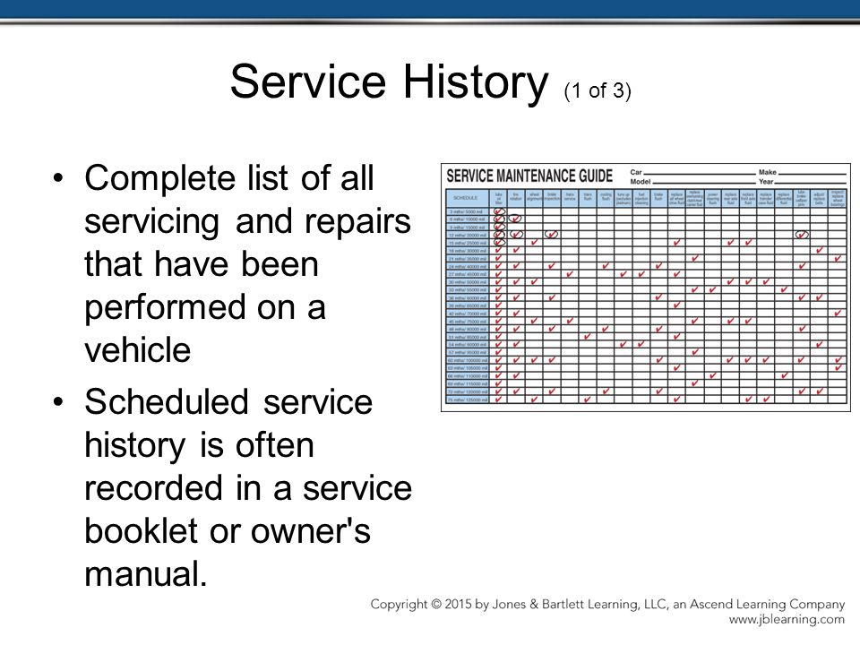 Service History (1 of 3) Complete list of all servicing and repairs that have been performed on a vehicle.