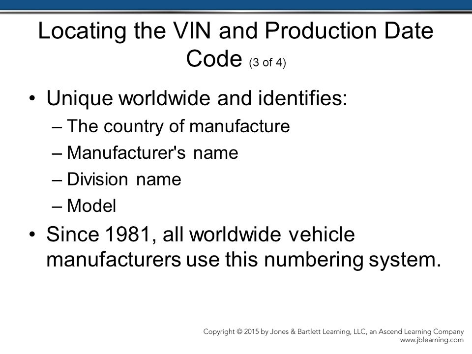 Locating the VIN and Production Date Code (3 of 4)