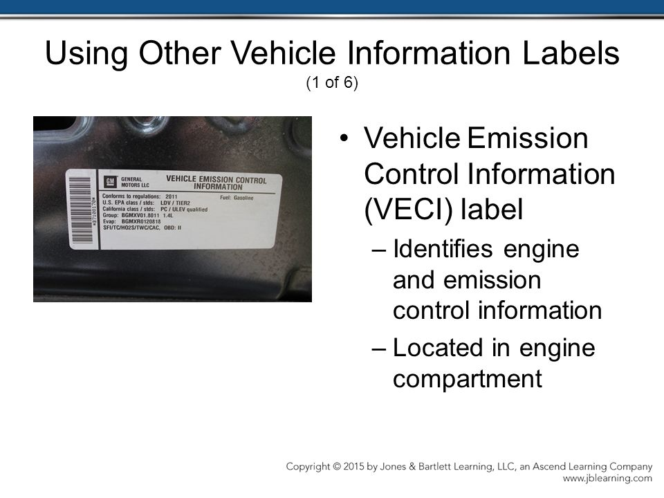 Using Other Vehicle Information Labels (1 of 6)
