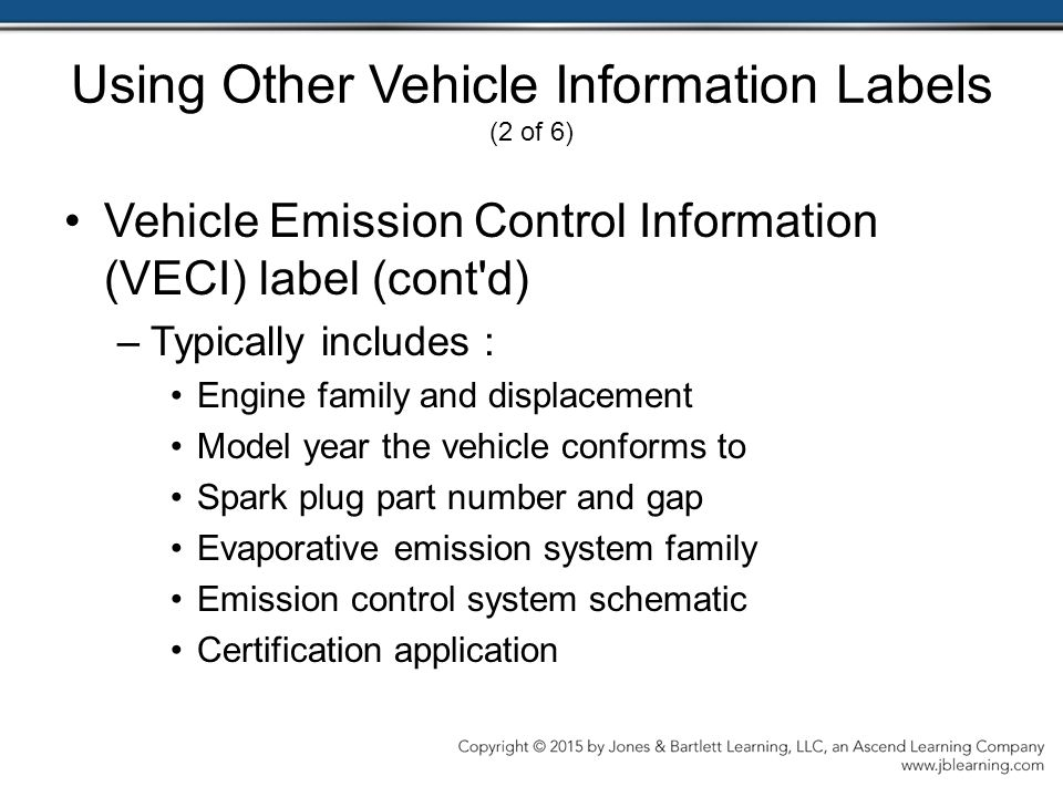 Using Other Vehicle Information Labels (2 of 6)