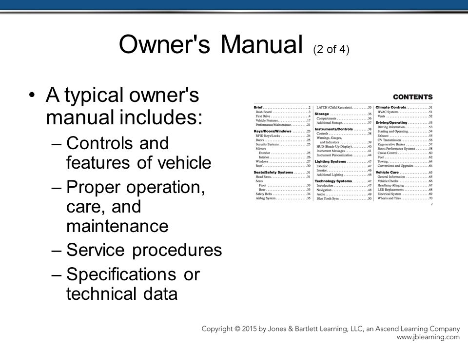 Owner s Manual (2 of 4) A typical owner s manual includes: