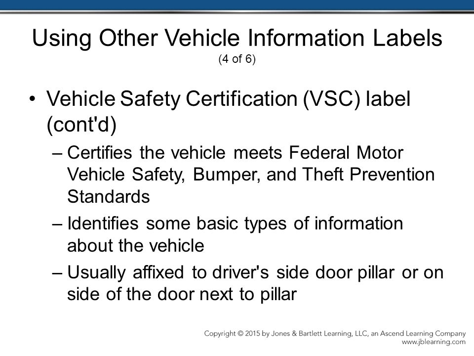 Using Other Vehicle Information Labels (4 of 6)