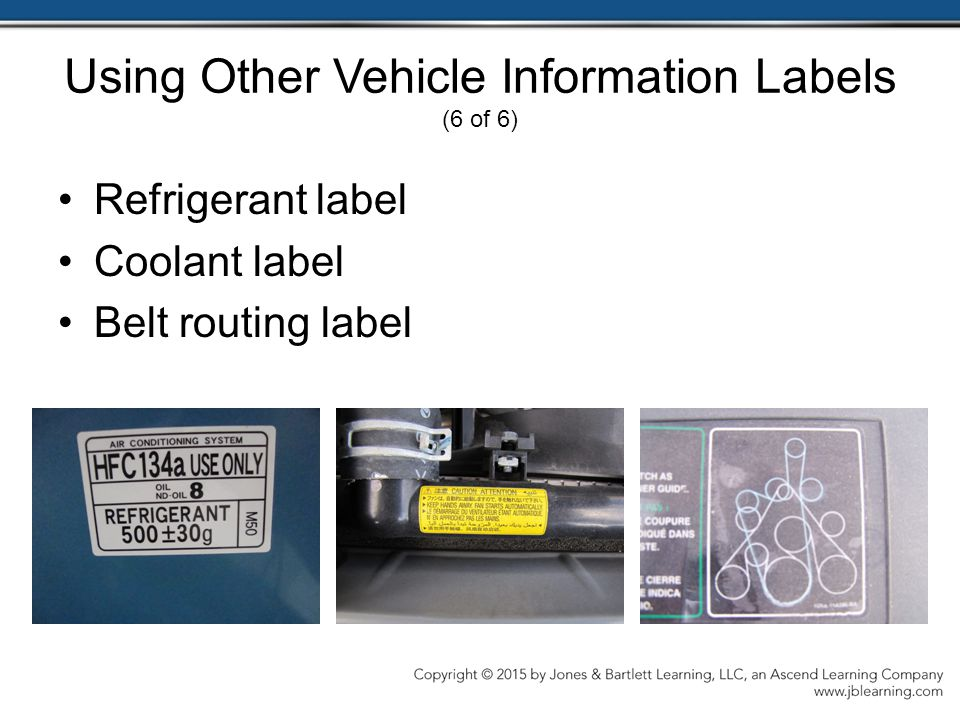 Using Other Vehicle Information Labels (6 of 6)