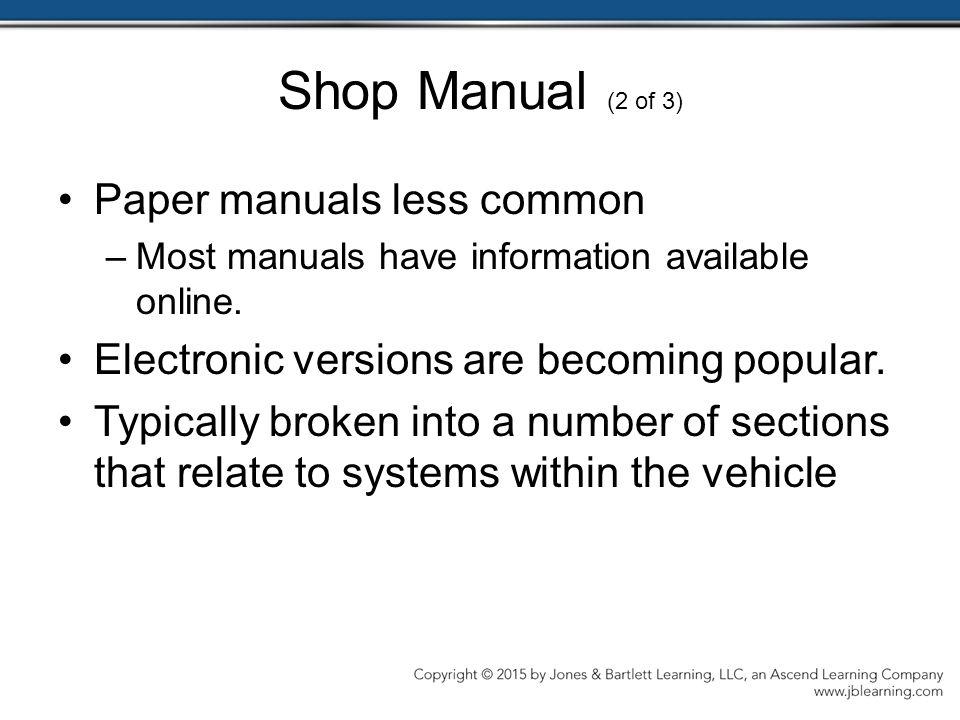 Shop Manual (2 of 3) Paper manuals less common