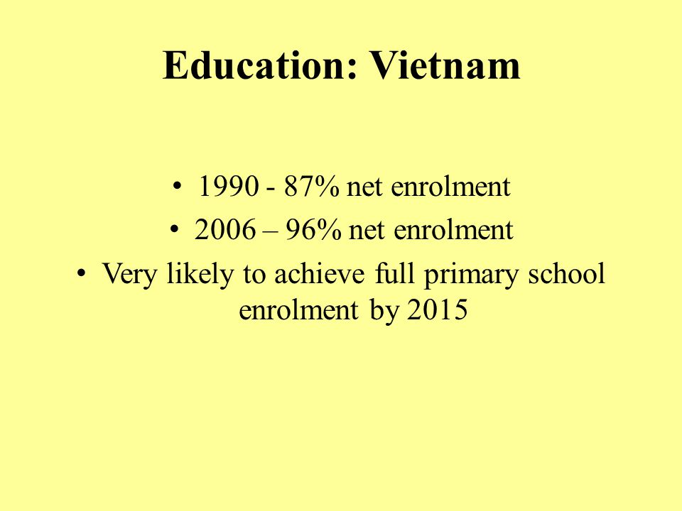 Very likely to achieve full primary school enrolment by 2015
