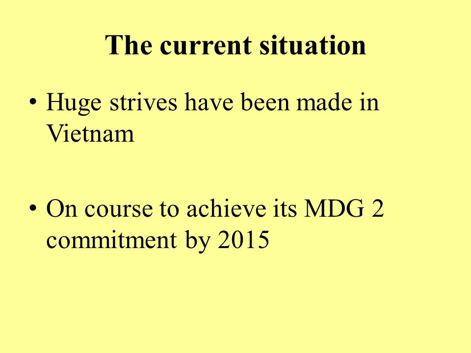The current situation Huge strives have been made in Vietnam