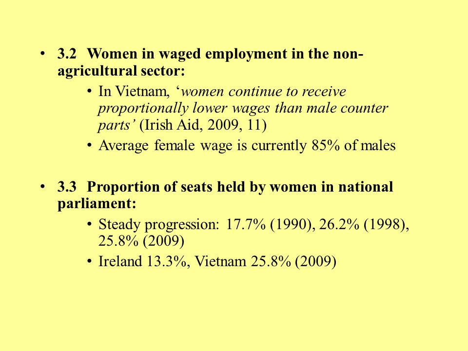 3.2 Women in waged employment in the non-agricultural sector: