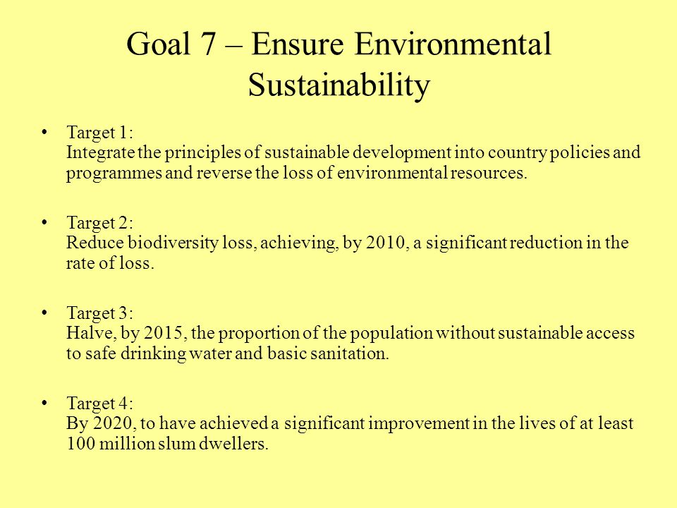 Goal 7 – Ensure Environmental Sustainability