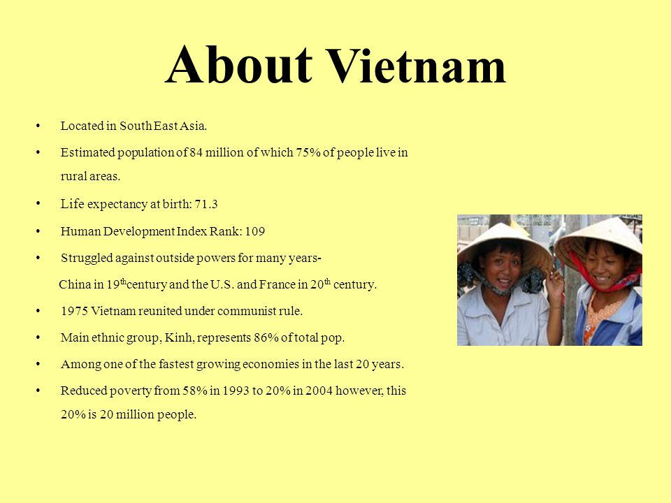 About Vietnam Life expectancy at birth: 71.3