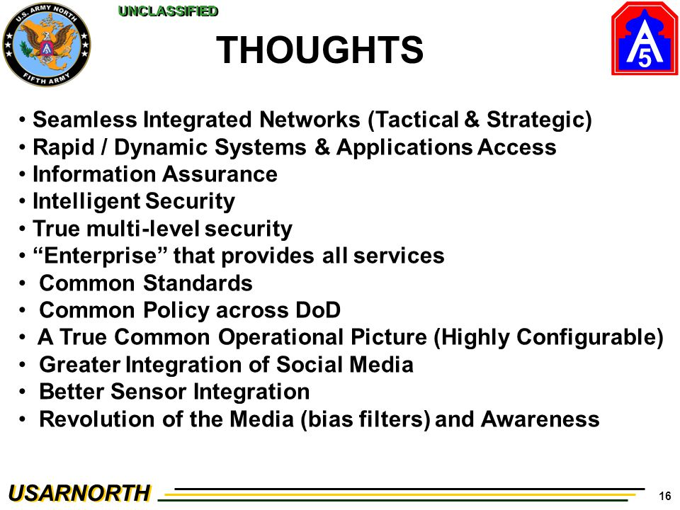 THOUGHTS Seamless Integrated Networks (Tactical & Strategic)