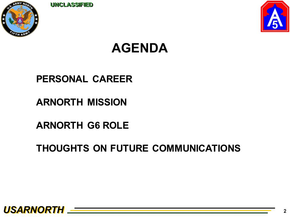 AGENDA PERSONAL CAREER ARNORTH MISSION ARNORTH G6 ROLE