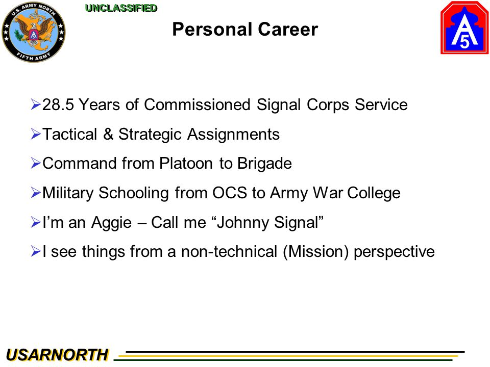 Personal Career 28.5 Years of Commissioned Signal Corps Service