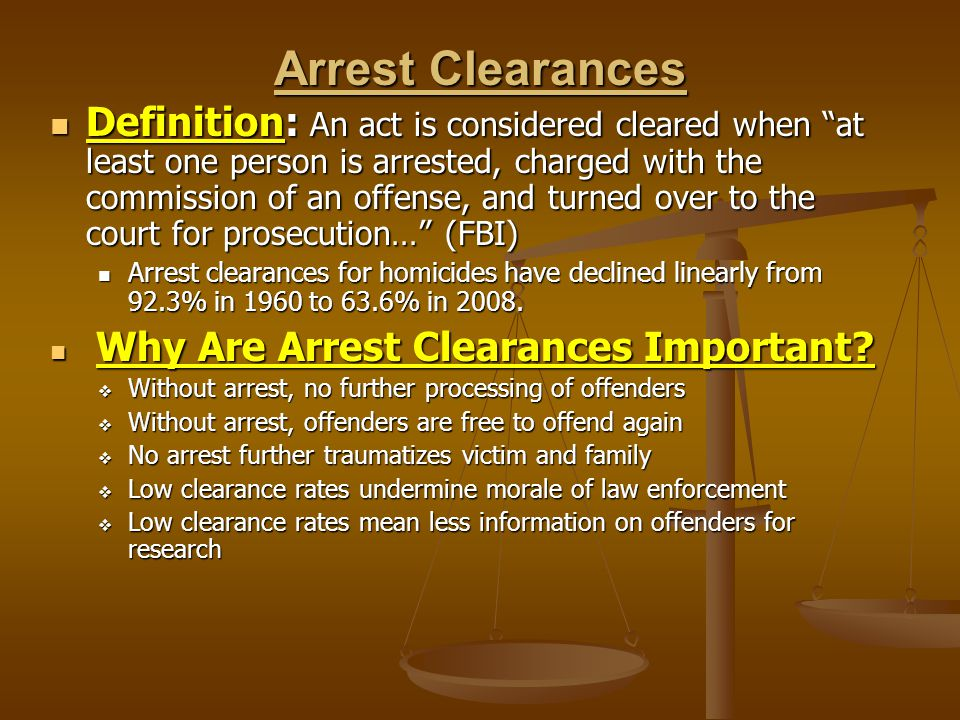 Arrest Clearances