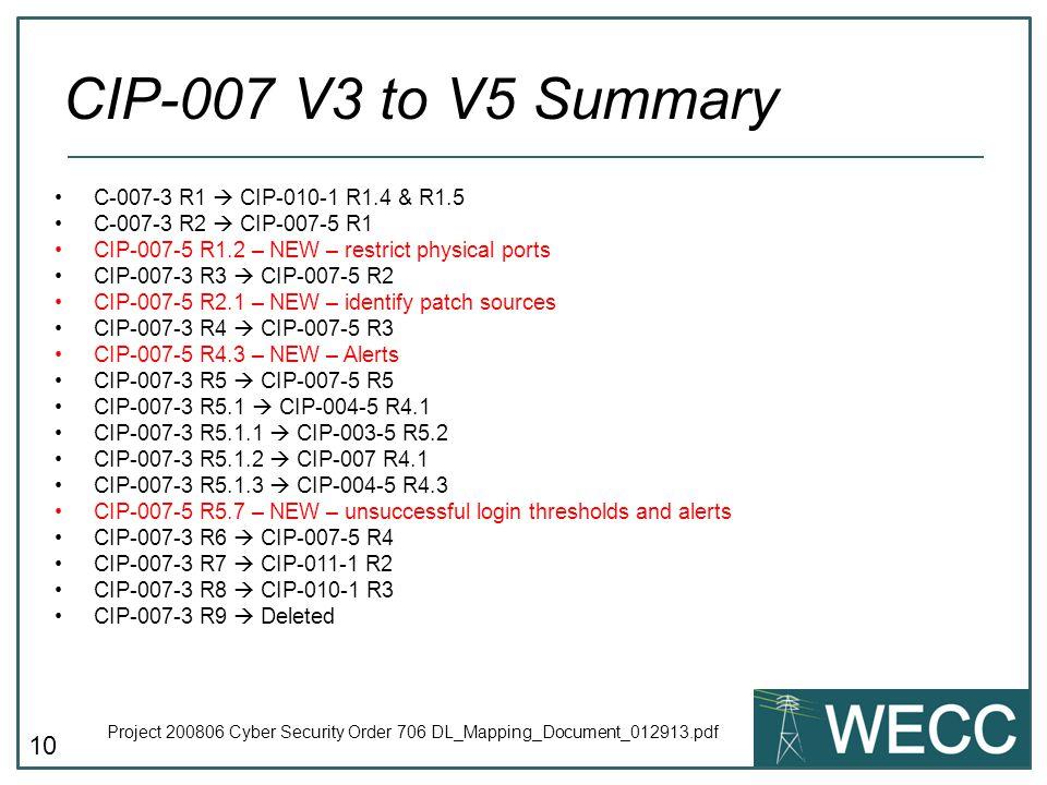 CIP-007 V3 to V5 Summary C-007-3 R1  CIP-010-1 R1.4 & R1.5