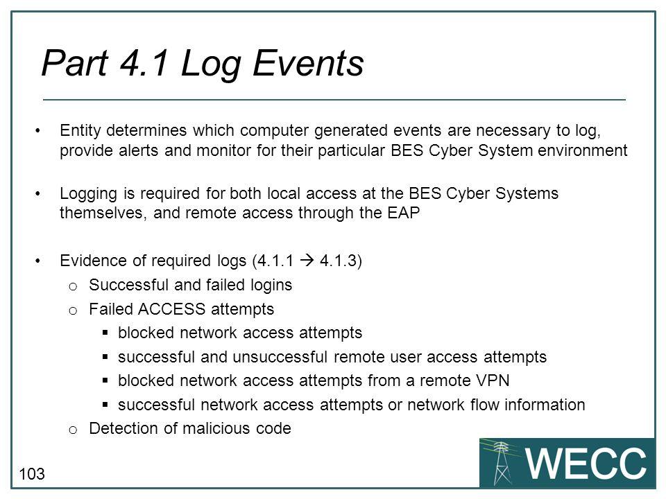 CIP-101 September 24-25, 2013 Part 4.1 Log Events.