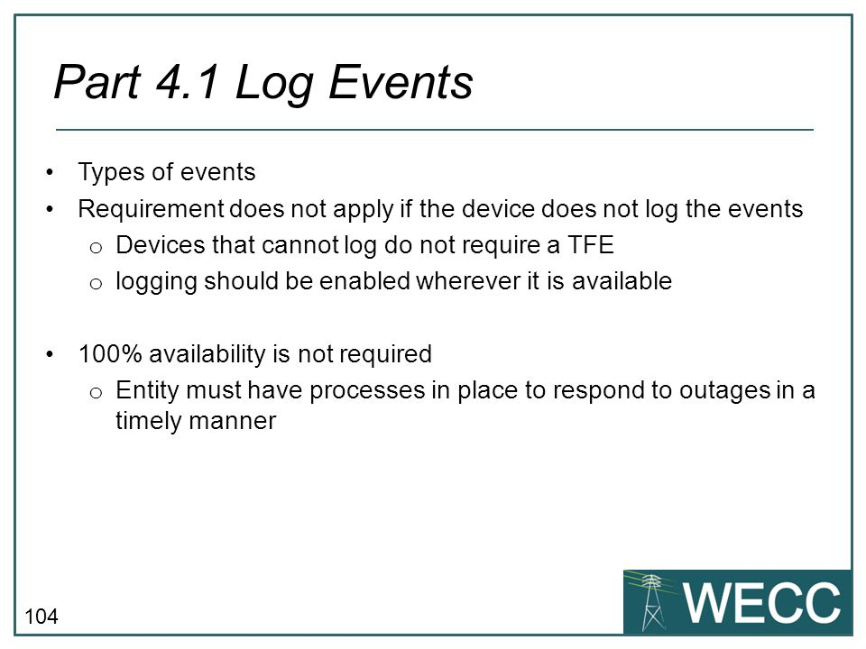 Part 4.1 Log Events Types of events