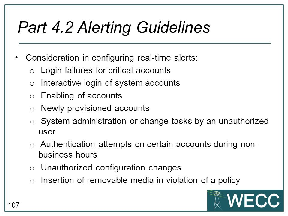 Part 4.2 Alerting Guidelines
