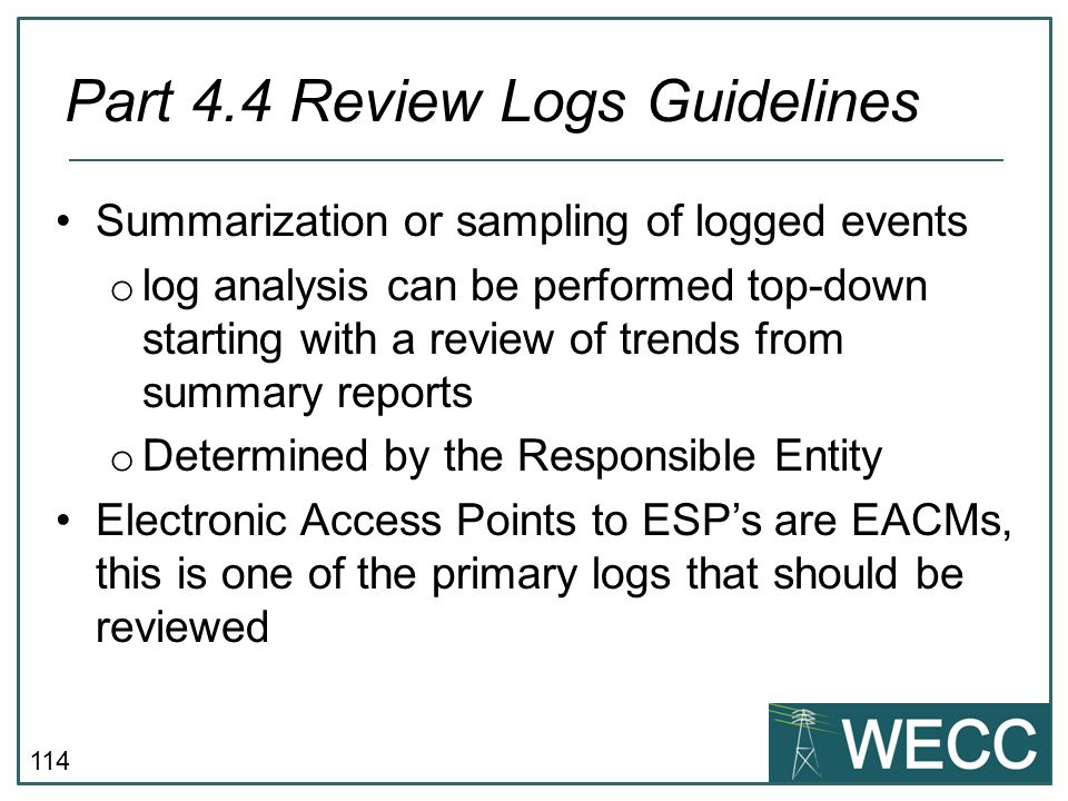 Part 4.4 Review Logs Guidelines