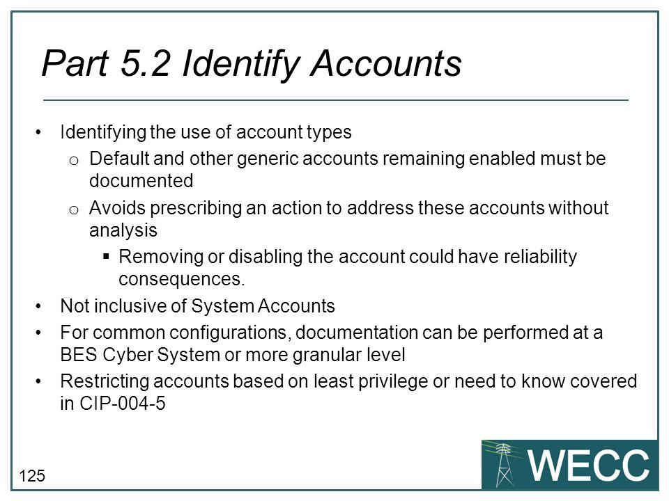 Part 5.2 Identify Accounts