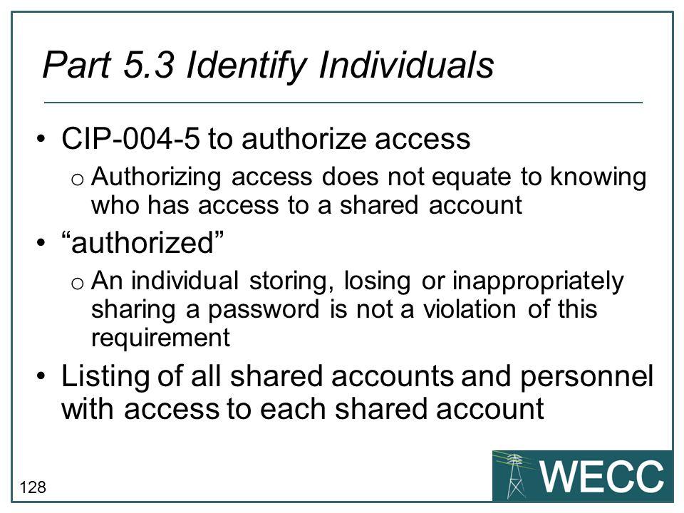 Part 5.3 Identify Individuals
