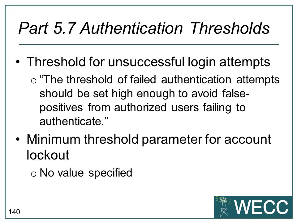 Part 5.7 Authentication Thresholds