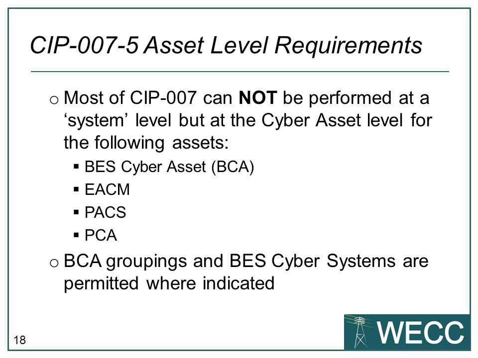 CIP-007-5 Asset Level Requirements
