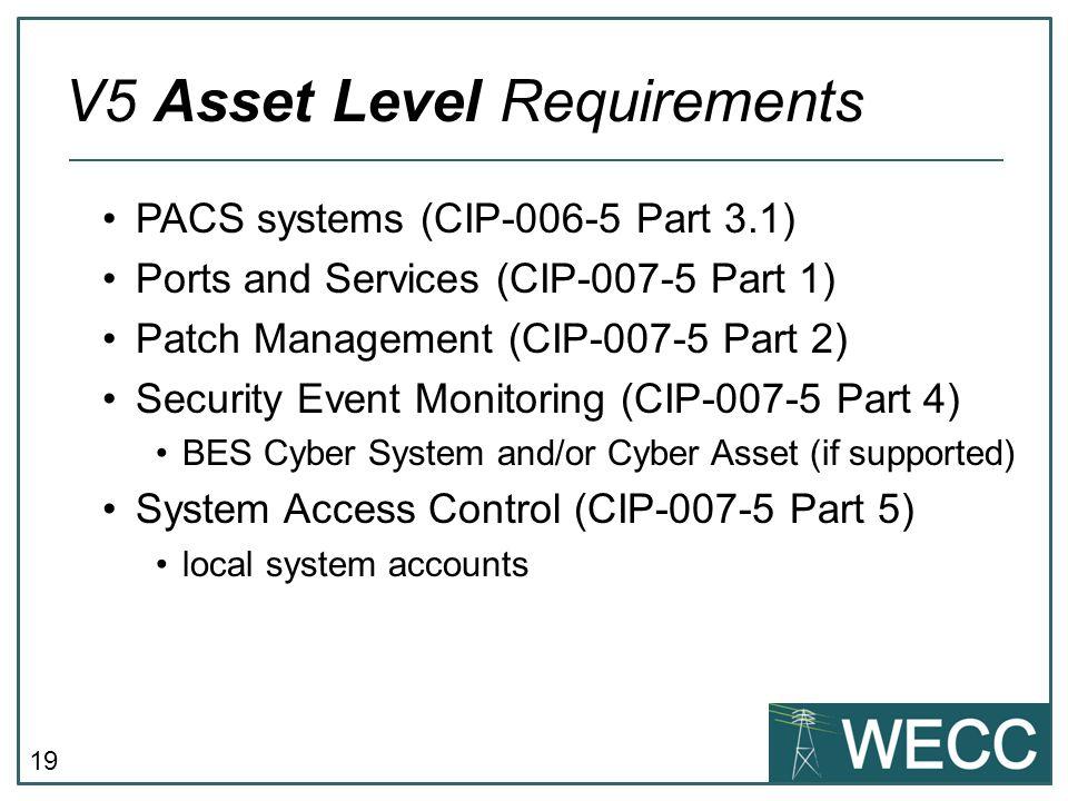 V5 Asset Level Requirements