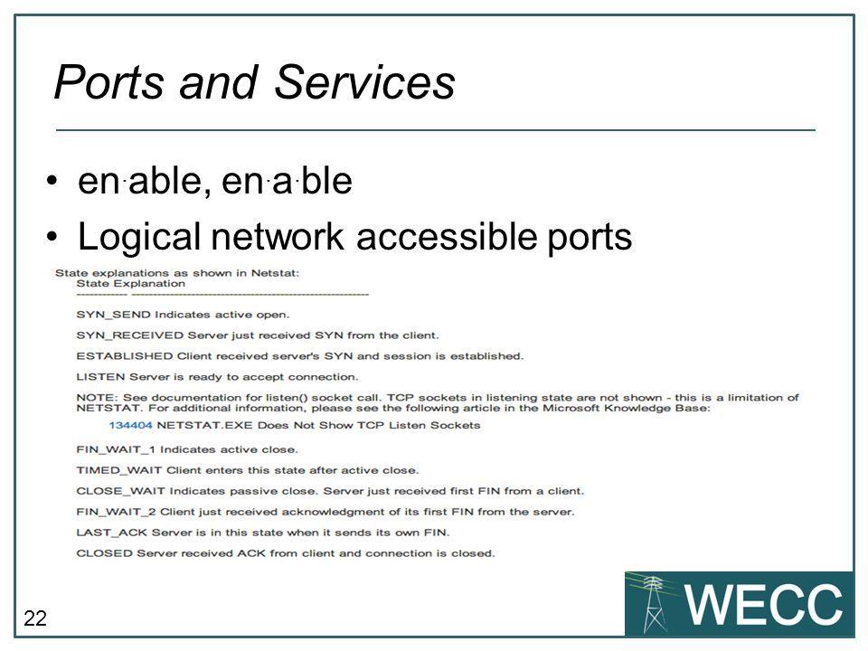 Ports and Services en.able, en.a.ble Logical network accessible ports