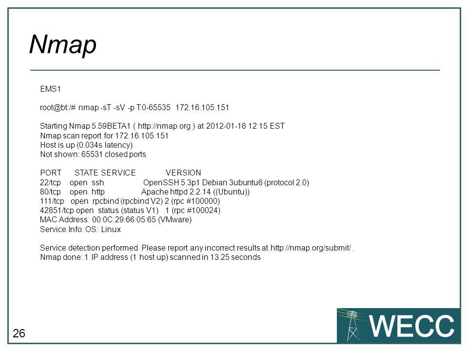 Nmap CIP-101 September 24-25, 2013 EMS1