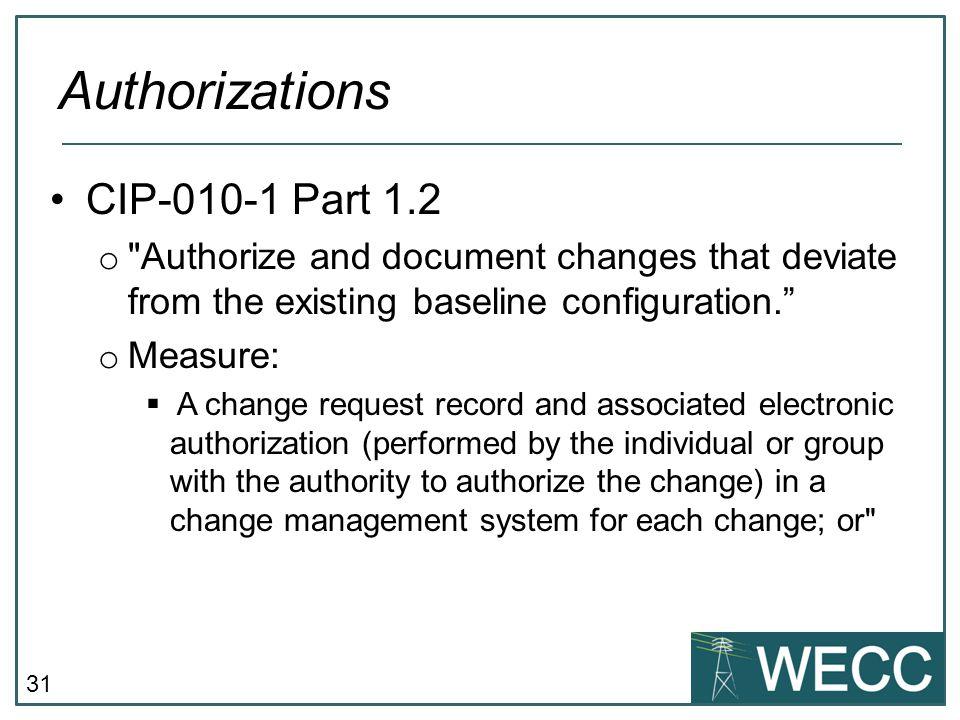 Authorizations CIP-010-1 Part 1.2