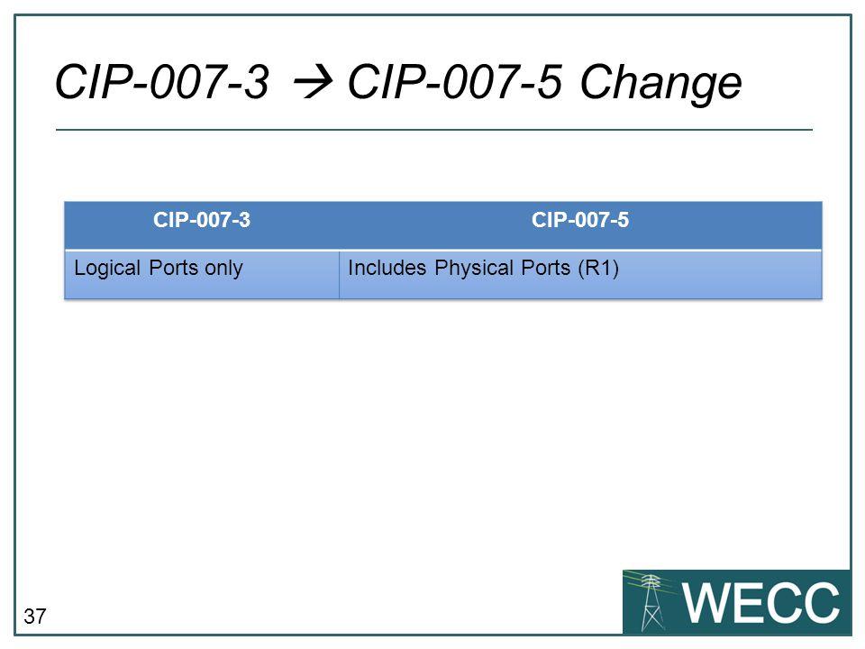 CIP-007-3  CIP-007-5 Change CIP-007-3 CIP-007-5 Logical Ports only
