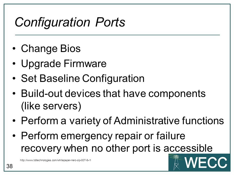 Configuration Ports Change Bios Upgrade Firmware