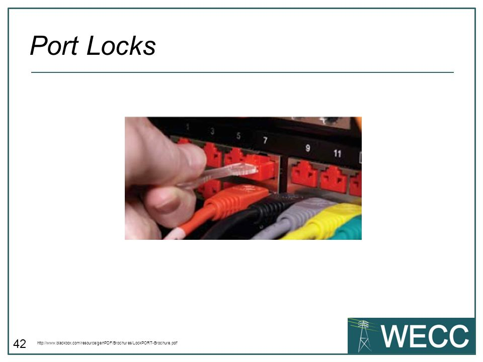 Port Locks http://www.blackbox.com/resource/genPDF/Brochures/LockPORT-Brochure.pdf