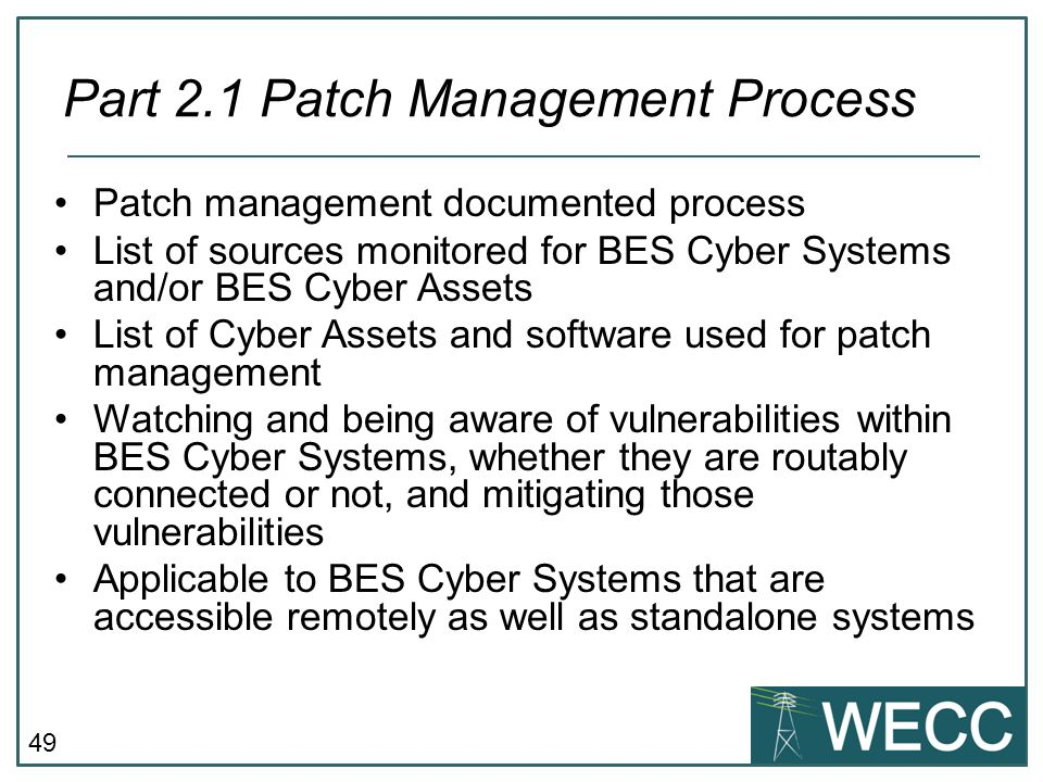 Part 2.1 Patch Management Process