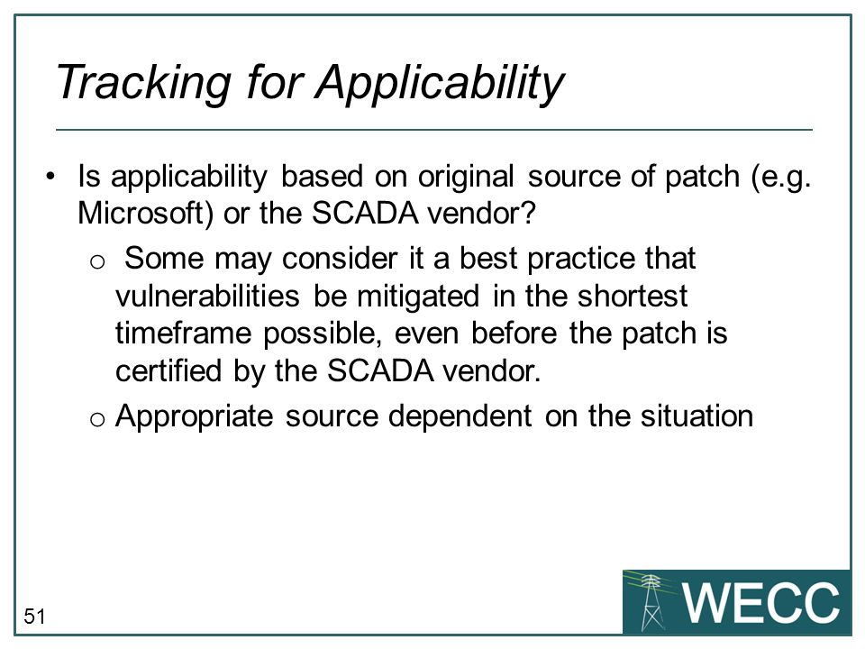 Tracking for Applicability