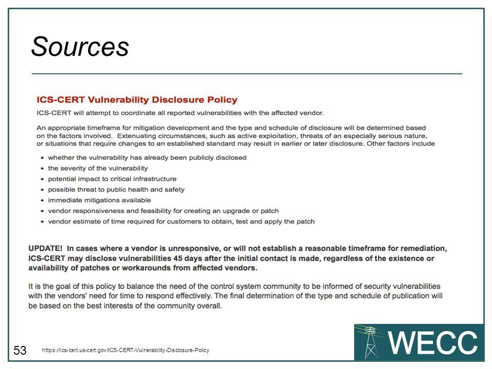 Sources https://ics-cert.us-cert.gov/ICS-CERT-Vulnerability-Disclosure-Policy