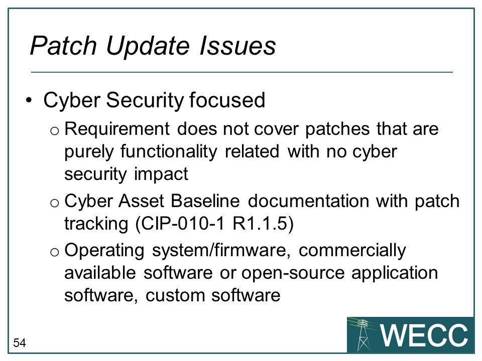 Patch Update Issues Cyber Security focused