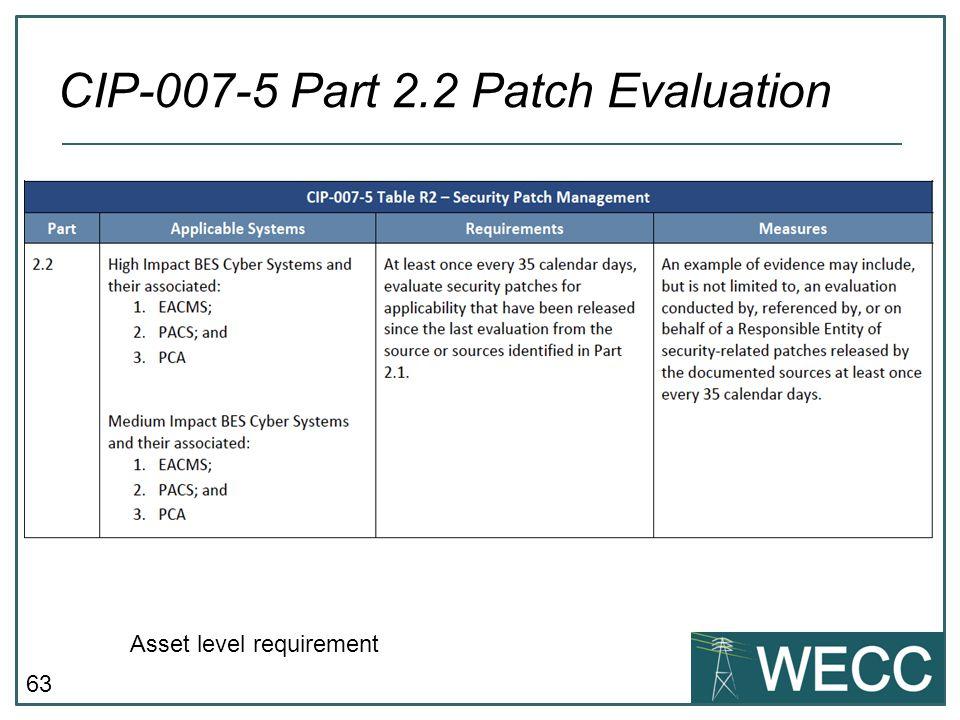 CIP-007-5 Part 2.2 Patch Evaluation