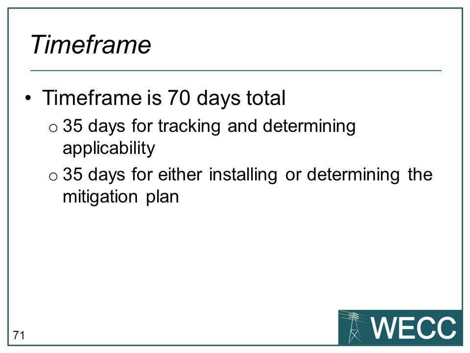 Timeframe Timeframe is 70 days total