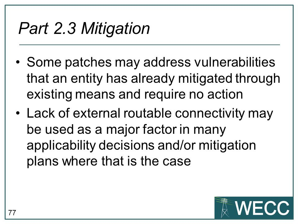 CIP-101 September 24-25, 2013 Part 2.3 Mitigation.
