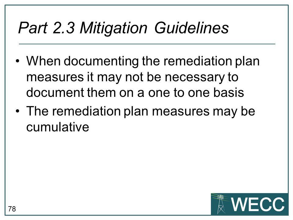 Part 2.3 Mitigation Guidelines