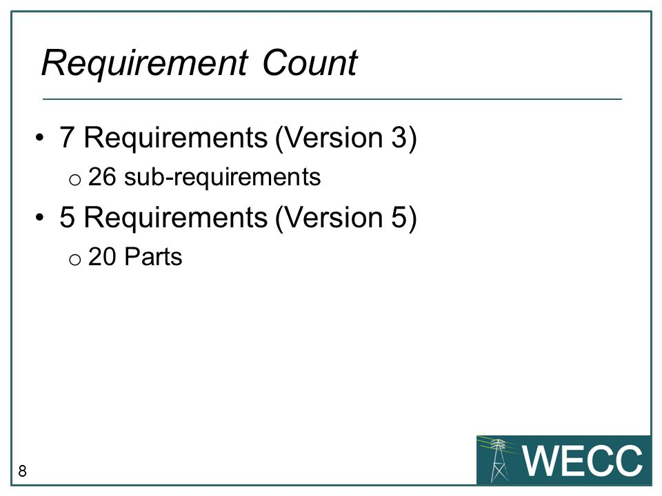 Requirement Count 7 Requirements (Version 3)