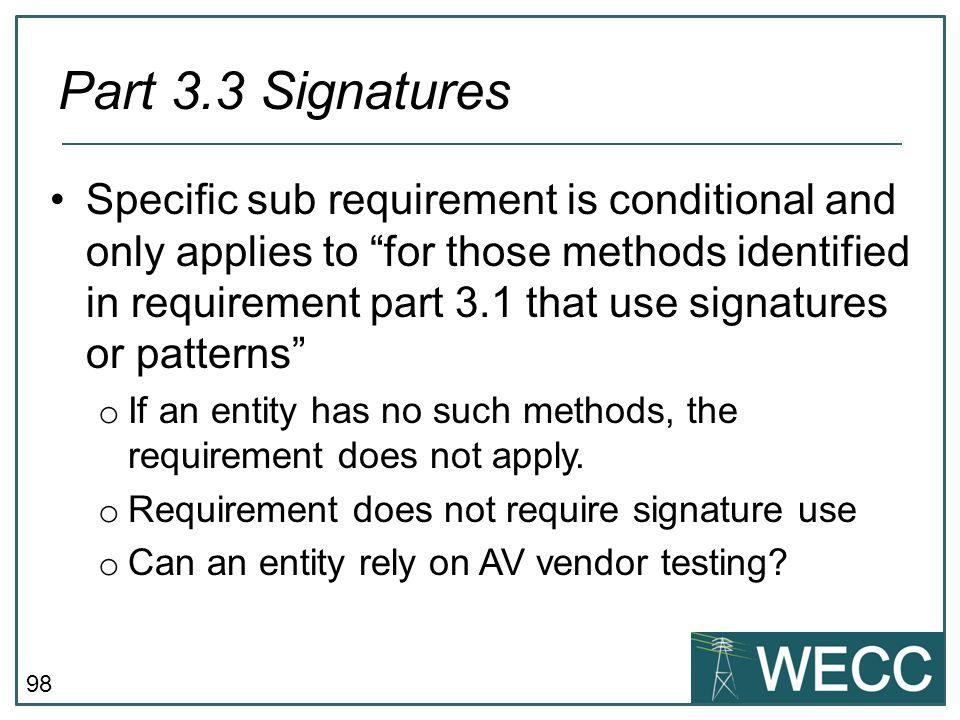 Part 3.3 Signatures