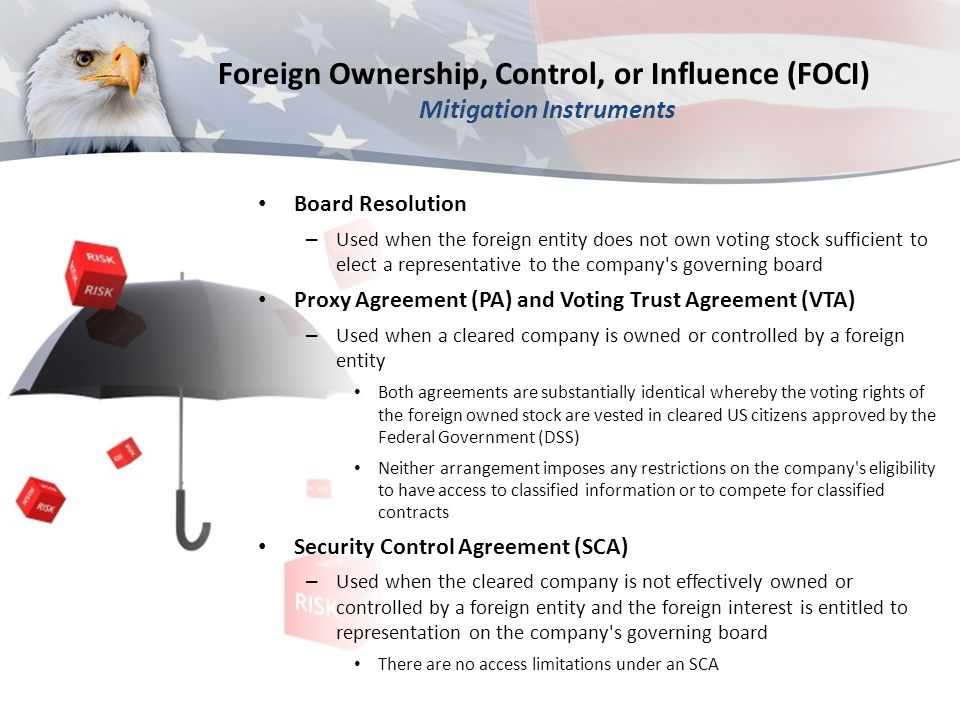Foreign Ownership, Control, or Influence (FOCI) Mitigation Instruments