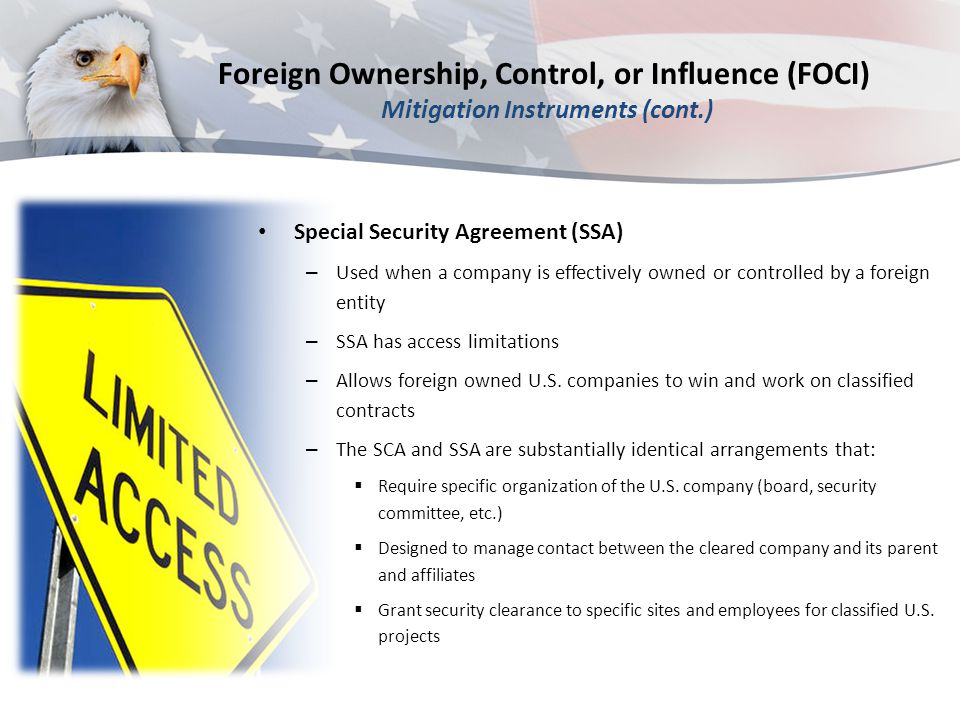 Foreign Ownership, Control, or Influence (FOCI) Mitigation Instruments (cont.)