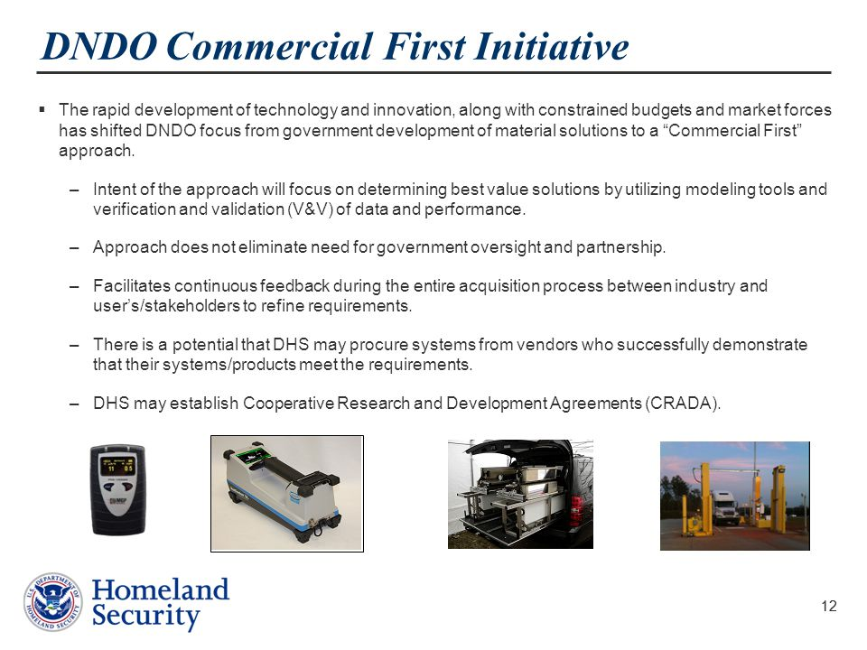 DNDO Commercial First Initiative