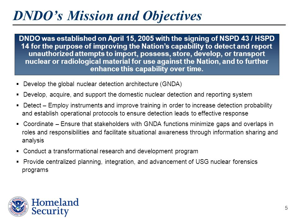 DNDO's Mission and Objectives