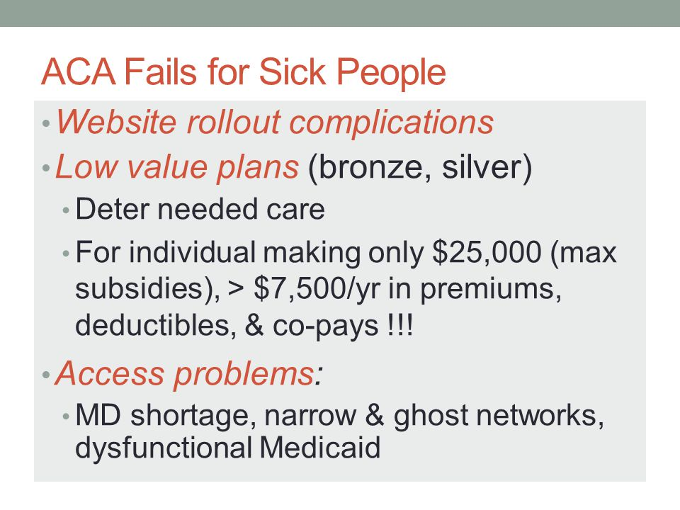 ACA Fails for Sick People