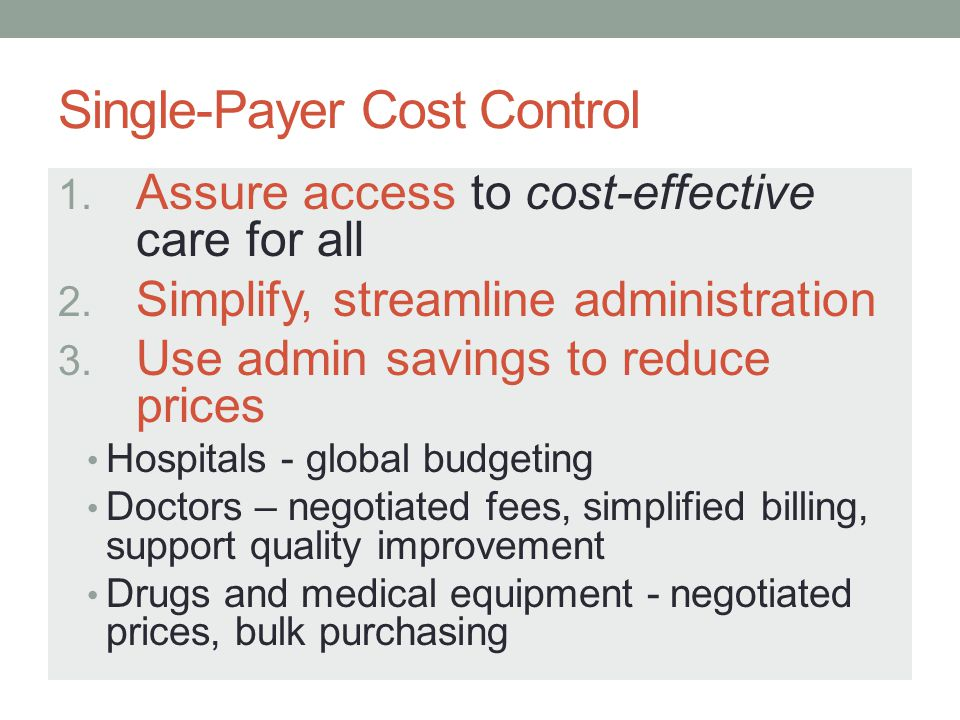 Single-Payer Cost Control